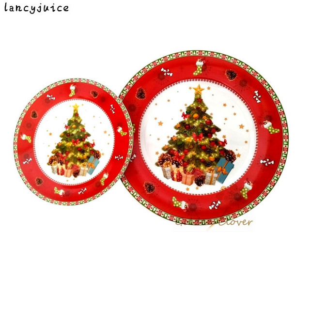 Us 39 2 20 Off Christmas Tree Plate 2pcs Set 10inch 8inch Hand Painted Ceramic Plate Edible Porcelain Cartoon Flat Dish Home Deco Plate In Dishes