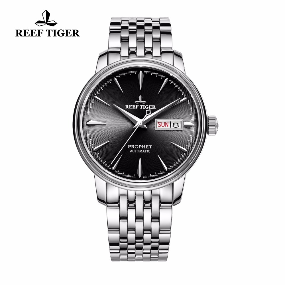 Reef Tiger Brand Dress Watches Date Day Automatic Black Dial Full Stainless Steel Sports Waterproof Mechanical Watch Clock Men limited edition seiko 5 sports day date men s automatic mechanical watch srp723