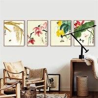Dragonfly Powiesić obraz Na Płótnie Ścianie plakat malarstwo akwarela lotus Chiński Styl Mural Papieru Sztuki Plakatu na Biuro Studium Decor