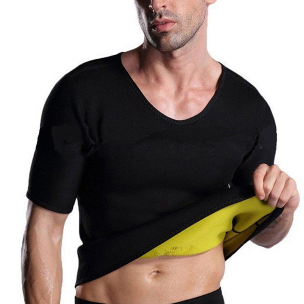 Summer Men Sweat Shirt Short Sleeve Neoprene Fitness Weight Loss Slimming Body Shaper T-Shirt  XRQ88