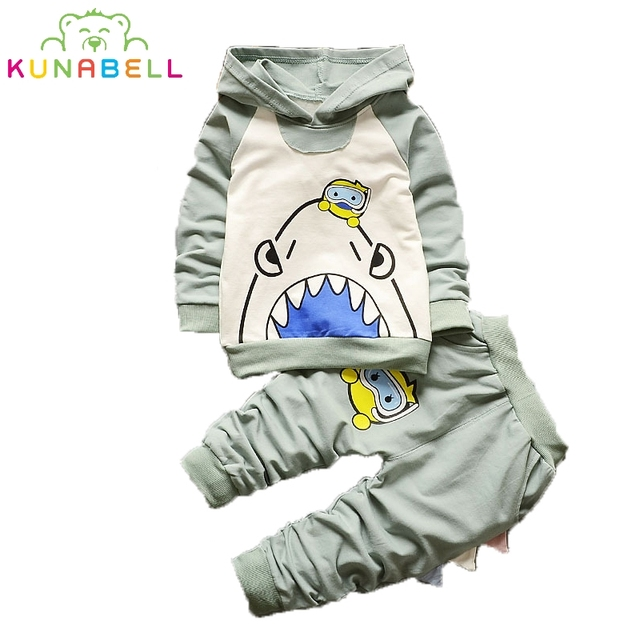 Shark And Diver Printing Infant Girl Clothes Fashion New Baby Boys and Girls Autumn Spring Baby Hoodies Sport Clothing Sets L168