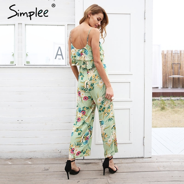 Boho floral print strap tiered ruffle jumpsuit 1