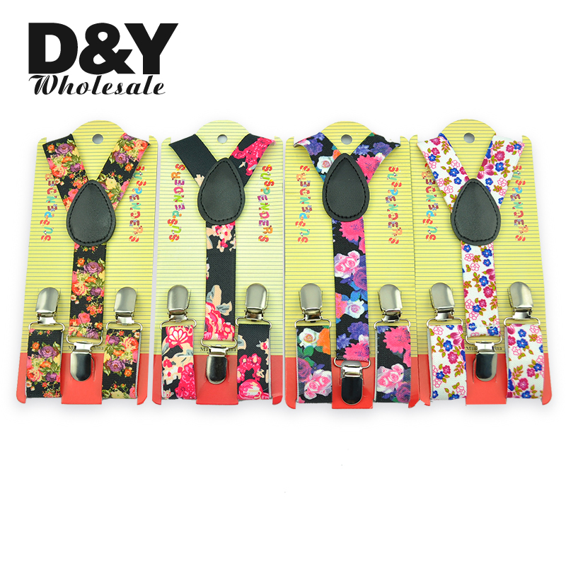 New Novelty Floral Printing Suspenders Children Kids Boy Girl Cute 2.5x65cm Suspender Elastic Y-Back Suspenders Slim Pant Braces