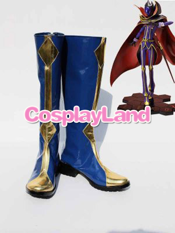 Code Geass Lelouch Zero Blue Cosplay Boots Shoes Anime Party Cosplay Show Boots Custom Made for Adult Men Shoes adult men s tangled flynn rider cosplay boots shoes halloween cosplay prop custom made