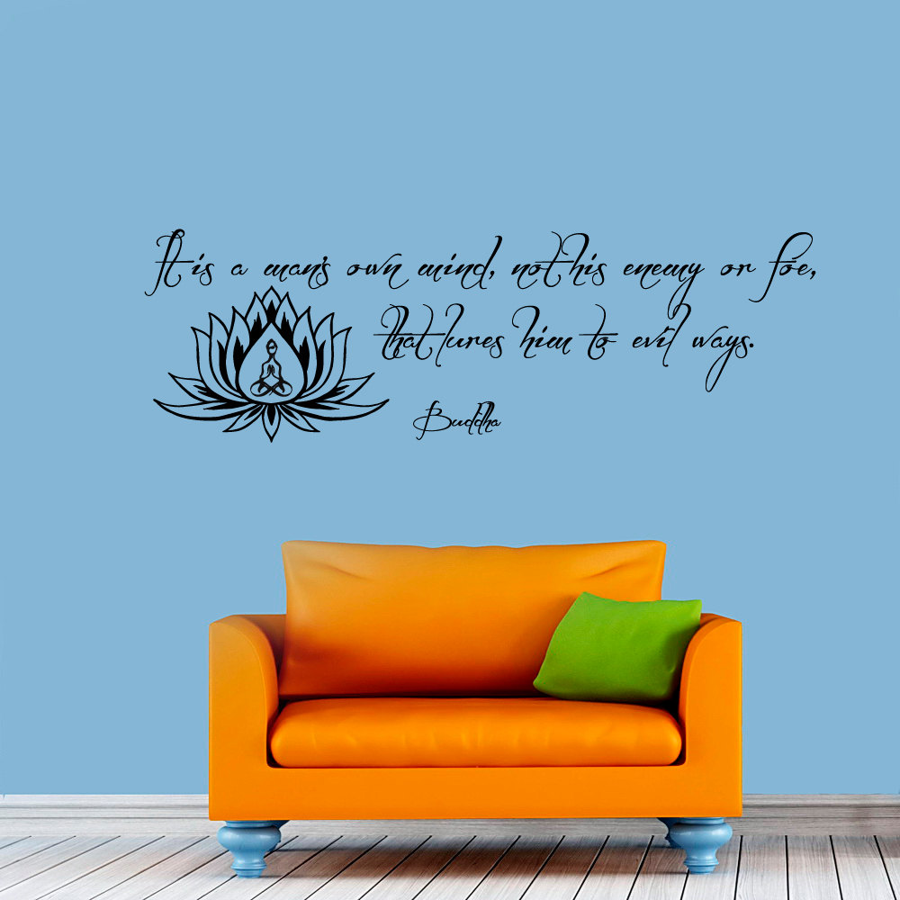 Us 422 15 Offzooyoo Buddha Wall Sticker Lotus Decoration Sayings Home Decor Self Adhesive Wallpaper Living Room Bedroom Wall Art Decals In Wall