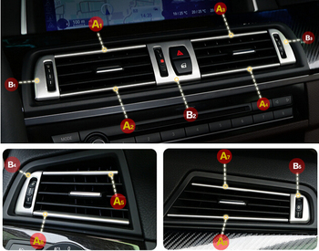 stainless steel 13pcs Air Condition Vent Outlet Frame Cover Trims For BMW 5 series F10 2011 2012 2013 2014