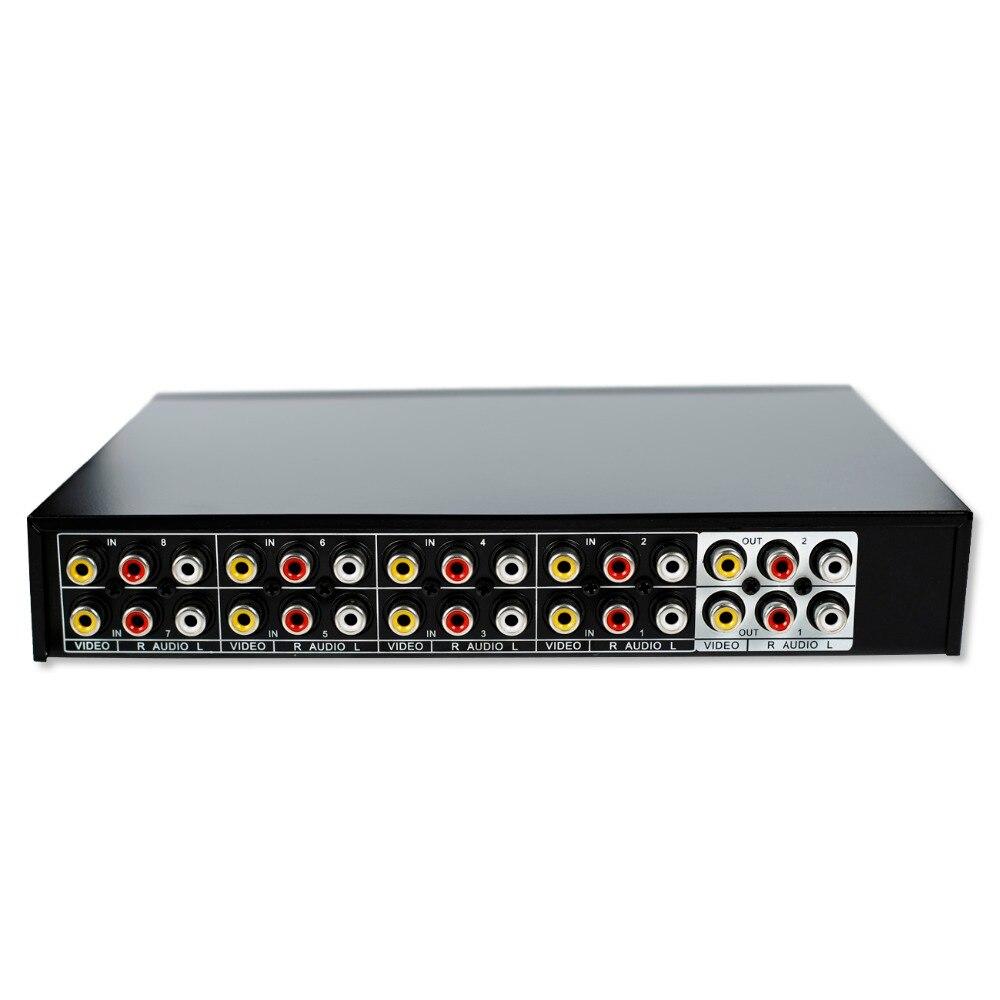 8 Ports 2 ausgang Verbund 3 RCA Audio Video AV Umschalter Box Selector 8 In 1 8x1 8in 2out 8x2 für HDTV LCD DVD