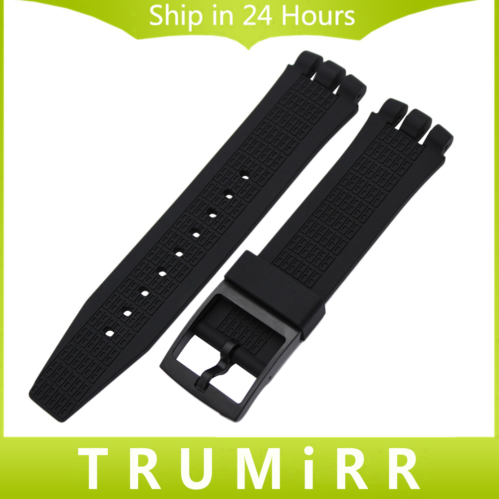 Silicone Rubber Watchband 20mm 21mm for Swatch Replacement Watch Band Plastic Clasp Strap Wrist Bracelet Black White Transparent top layer cowhide genuine leather watchband for swatch men women watch band wrist strap replacement belt bracelet 17mm 19mm 20mm