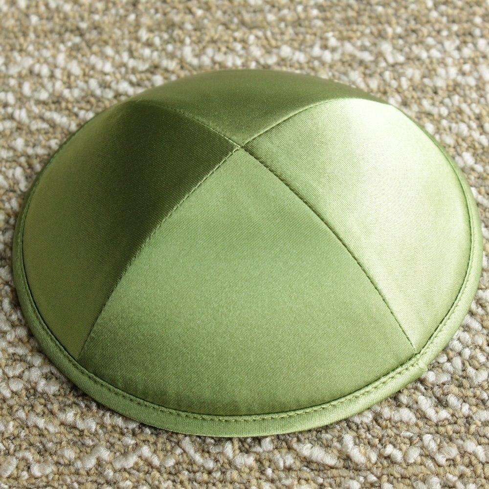 Olive Green Color Satin Kippot Jewish Yarmulke Kippah