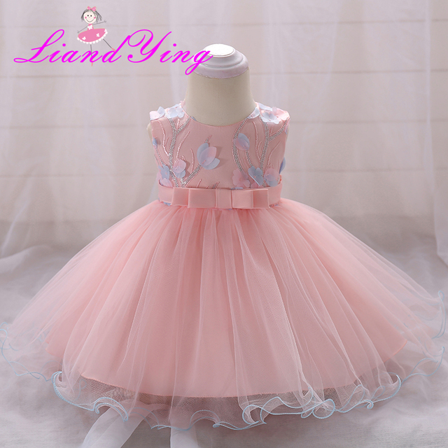 ee7f15c3cb5f4 Flower Baby Girl 1 Year Birthday Party Dress Kids Clothes Girl Infant Party  Baby Baptism Christening Gowns Dress