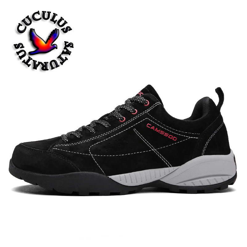 Mens Fur Leather Sports Outdoor Trekking Hiking Shoes Sneakers For Men Skidproof Climbing Mountain Shoes Man Outventure 6086 zhishunjia zsj x3 2000lm 4 mode white 3 led bicycle light red 6 x 18650