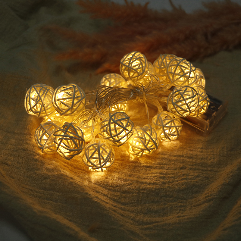 20 Led Rattan Ball String Lights White Blue Multicolor Holiday Party Home Decor Christmas Garden Fairy Lamp