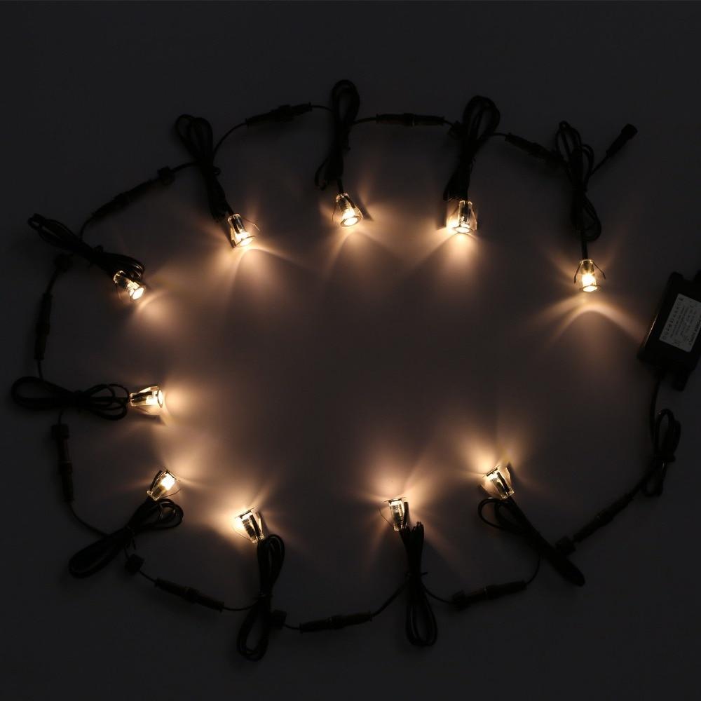 Kit de lumières de plate-forme encastrées de LED 10 paquets adaptateur d'alimentation extérieur 12VDC induit IP67 étanche dans les lumières au sol - 6