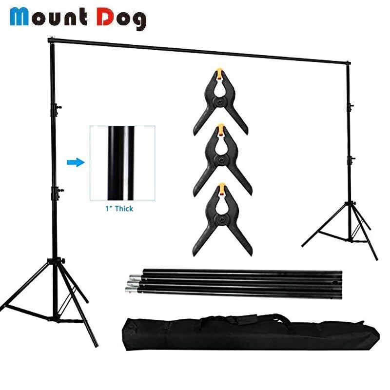 Support de fond de photographie MOUNTDOG Kit de système de Support de toile de fond 10ft Studio Photo vidéo réglable robuste avec port Ba