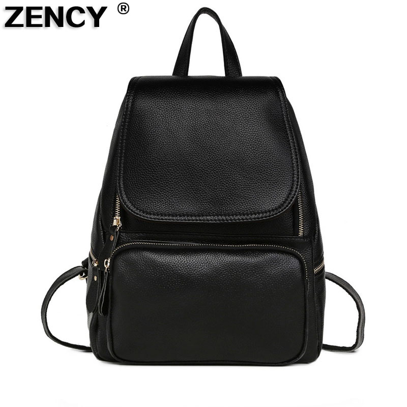 2018 Real Soft Genuine Leather Women Ladies Girl Female Designer Famous Brand Backpack Top Layer Cowhide School Bag Mochila zency genuine leather backpacks female girls women backpack top layer cowhide school bag gray black pink purple black color