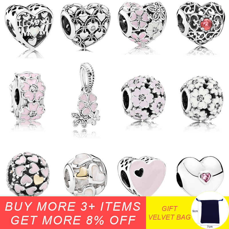 925 Sterling Silver Pink Primrose Flower Clip Charm Beads Fit Original Pandora Charm Bracelet Silver 925 Jewelry Accessories in Beads from Jewelry Accessories