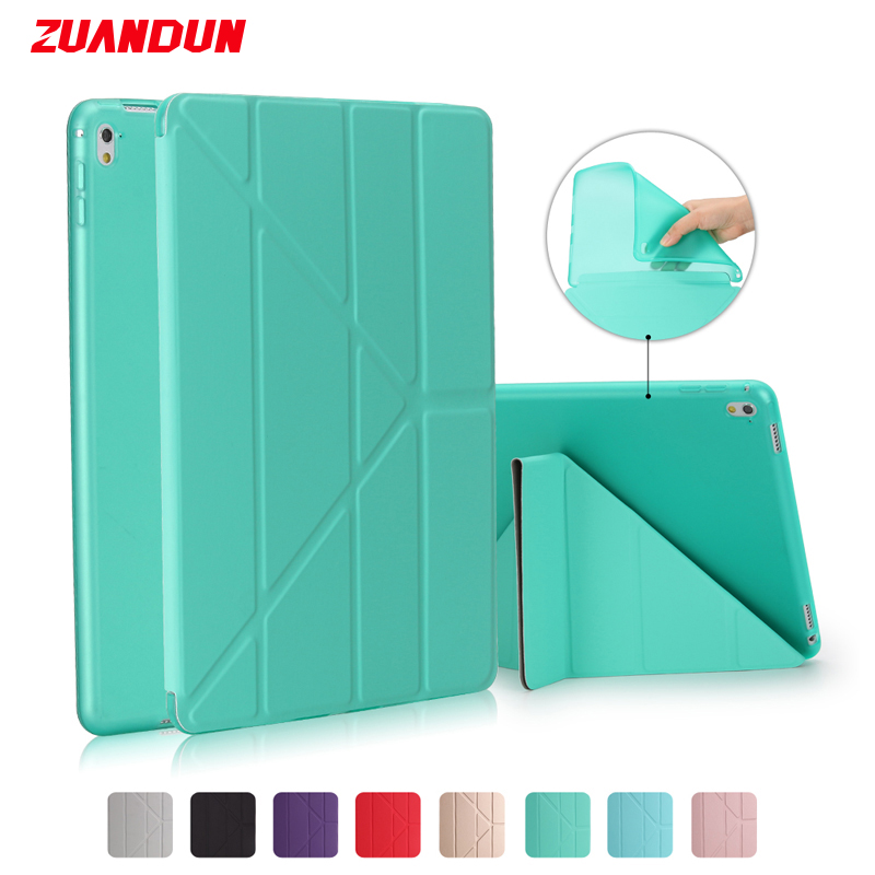 ZUANDUN Soft TPU Silicone Case For iPad Pro 9.7 Luxury Transparent Smart Leather Cover For Apple iPad Pro 9.7 inch Tablet Case new luxury ultra slim silk tpu smart case for ipad pro 9 7 soft silicone case pu leather cover stand for ipad air 3 ipad 7 a71