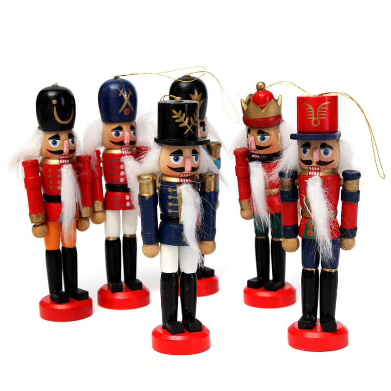 6Pcs Exquisite Colorful Wooden Nutcracker Handcraft for Friends Children Gifts Christmas House Office Home Decor Display6Pcs Exquisite Colorful Wooden Nutcracker Handcraft for Friends Children Gifts Christmas House Office Home Decor Display