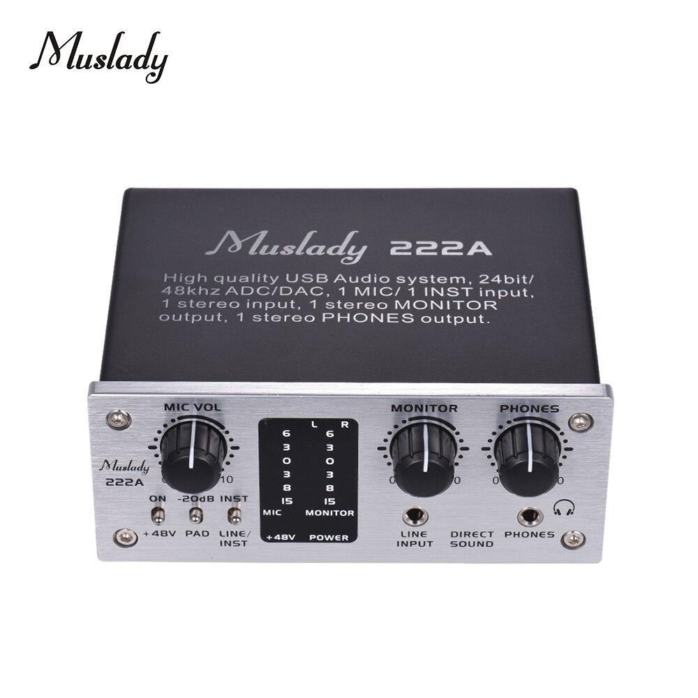 Muslady 222A 2 Channel USB Audio System Interface External Sound Card 48V phantom power DC 5V