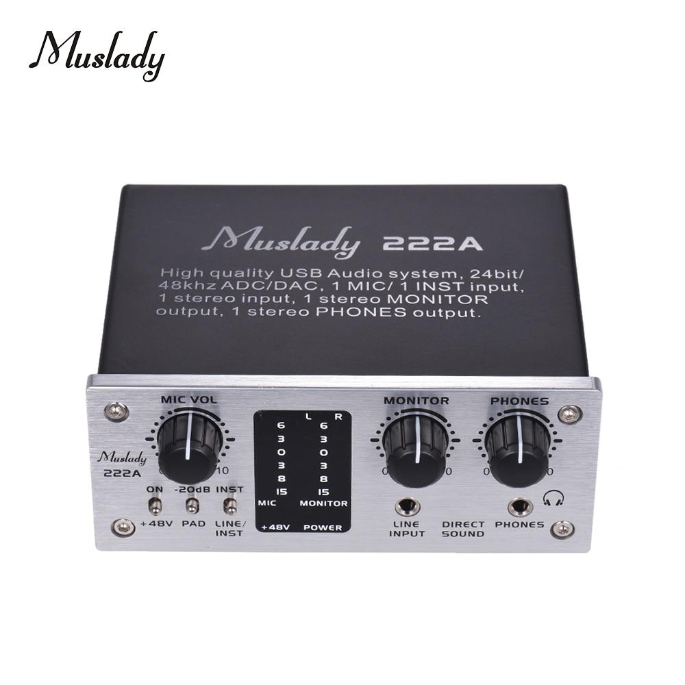 muslady 222a 2 channel usb audio system interface external sound card 48v phantom power dc 5v. Black Bedroom Furniture Sets. Home Design Ideas