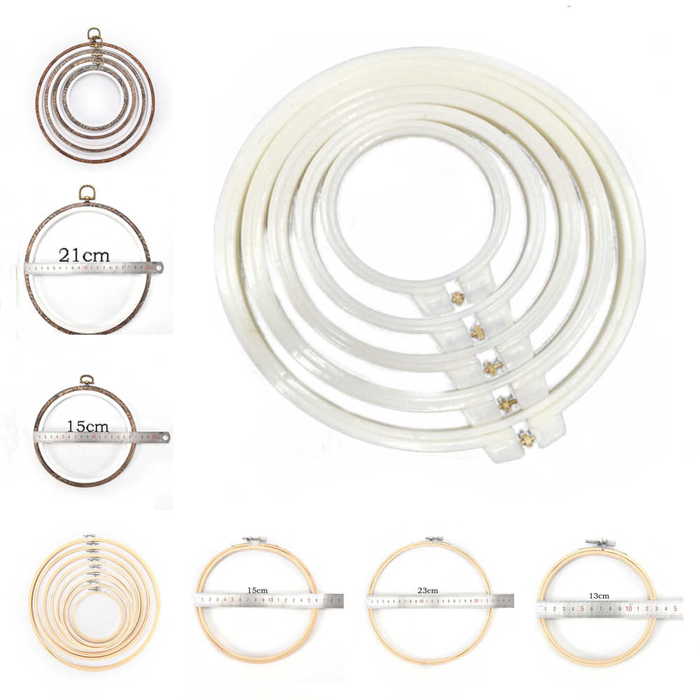 7-30cm 18 styles Plastic/bamboo Embroidery and Cross Stitch Hoop Embroidery Hoop Ring Frame Adjustable Sewing Tools