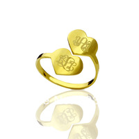 Engraved Monogram Rings Customized Each 3 Monogrammed Initials In 1 Heart Rings Personalized Double Hearts Love