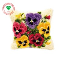 Kostur Flowers Latch Hook Rug Kits Unfinished Crocheting Tapestry 3D Yarn Needlework Cushion Sets For Embroidery