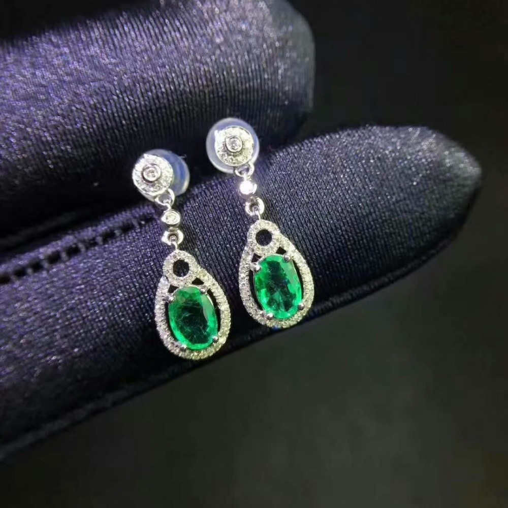 SHILOVEM 925 sterling silver Natural Emerald stud earrings classic fine Jewelry women wedding wholesale 4*6 jce040605agml shilovem 925 sterling silver emerald stud earrings classic fine jewelry women wedding women gift wholesale jce040601agml