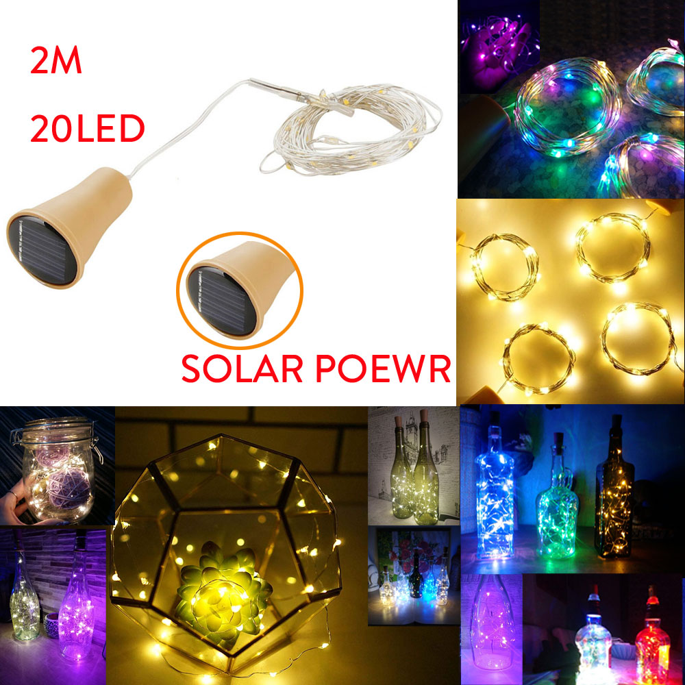 2M 20LED LED String Light Solar Cork Shaped Night Fairy String Light Wine Bottle Lamp Bar Christmas Shining LED Vase Decoration