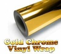600mm x 1520mm Ouro Chrome Espelho Gloss Envoltório de Vinil Film Folha da Etiqueta Da Bolha de Ar Livre 24