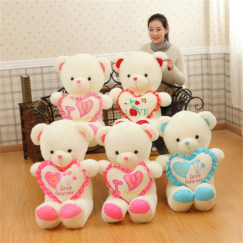 Fancytrader Valentine's Day Teddy Bear Love You Pink Heart Bears Plush Toys Nice Birthday Christmas Gift 110cm fancytrader biggest in the world pluch bear toys real jumbo 134 340cm huge giant plush stuffed bear 2 sizes ft90451