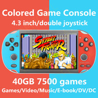 New 4.3 inch double joystick colored handheld game console build in 7500 games support fc/gb/gbc/gba/ps1/arcade game mp3/4 dv dc