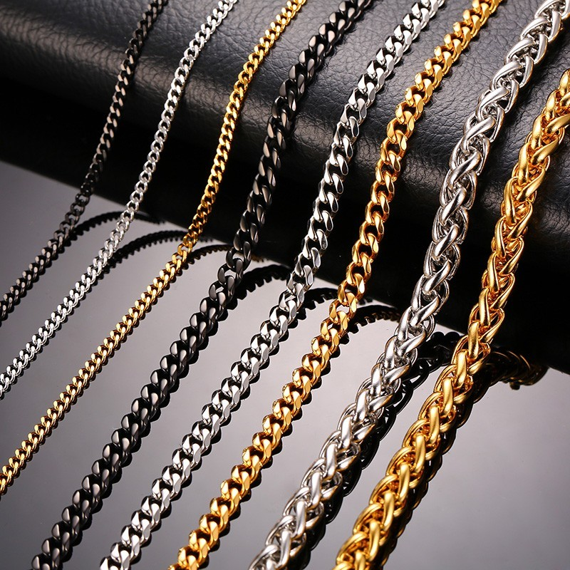 Black Stainless Steel Bracelet flat chain 7mm n24