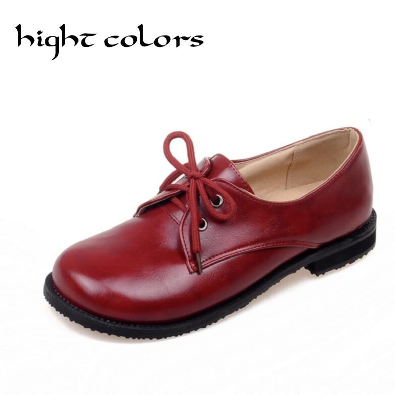 Oxford Shoes For Women Fashion Flats Women Black Beige Red Ladies Chaussure Casual Lace up Round Toe Botas Moccasin SIZE 43