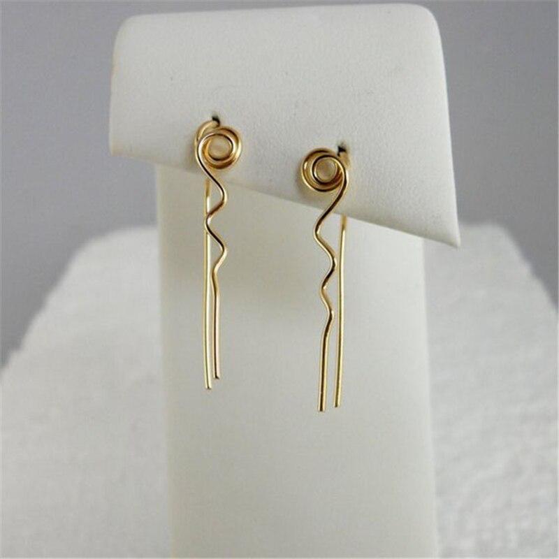 Long Bar Earrings Handmade Jewelry Gold Filled /925 Silver Vintage Brincos Minimalist Jewelry Earrings For Women Oorbellen