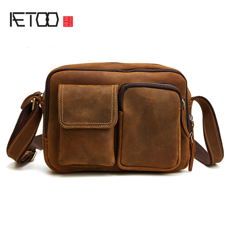 AETOO New leather men bag European and American fashion casual men shoulder bag oblique shoulder bag mad horse skin retro aetoo europe and the united states fashion new men s leather briefcase casual business mad horse leather handbags shoulder