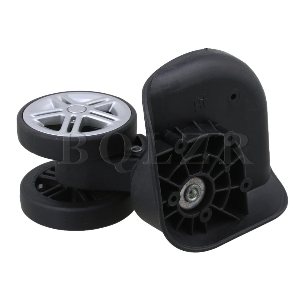 2pcs BQLZR Plastic Metal Left Right Luggage Wheels Replacement DIY Black