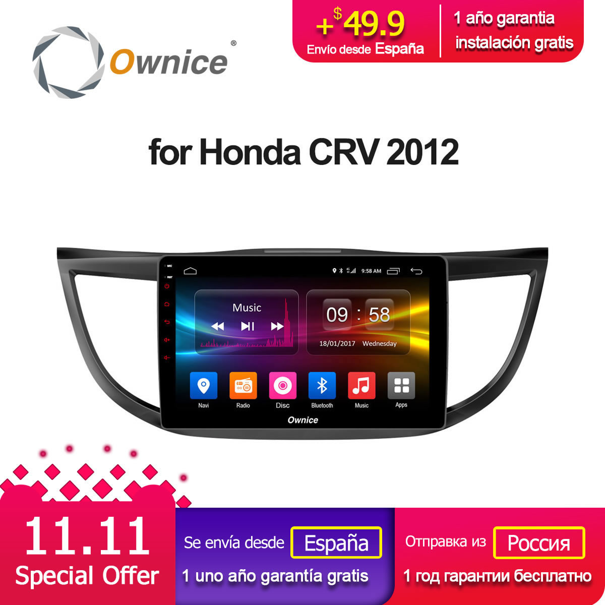 Ownice C500+ G10 Octa Core Android 8.1 For Honda CRV 2012 2013 2014 2015 2016 Car Radio Player Navi GPS 2GB RAM Support DVD 4G ownice c500 4g sim lte octa 8 core android 6 0 for kia ceed 2013 2015 car dvd player gps navi radio wifi 4g bt 2gb ram 32g rom