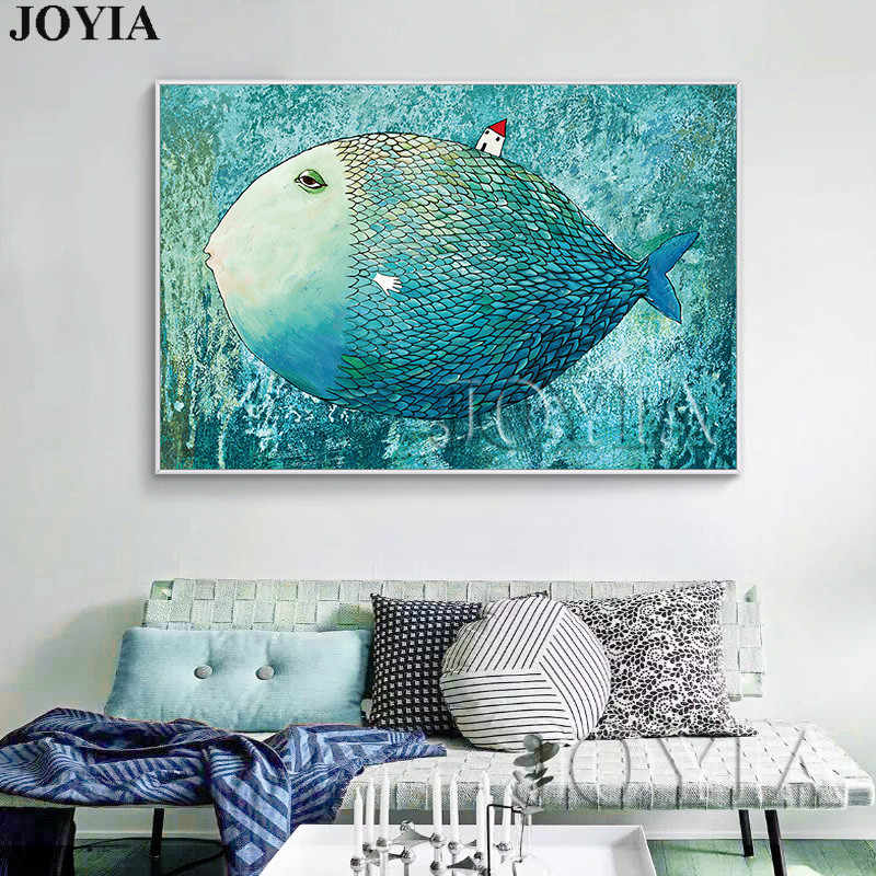 Nordic Style Big Fish Wall Picture Child Room Home Decoration Canvas Art Kids Baby Bedroom Decor Painting Modern Large Posters