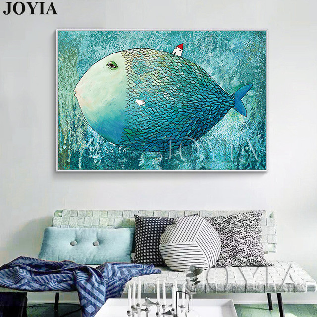 Nordic Style Big Fish Wall Picture Child Room Home