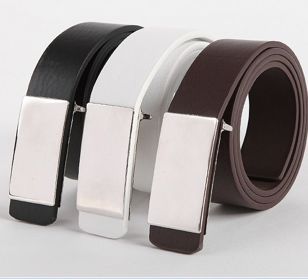 Free Shipping New Mens Auto Lock Buckle Leather Waistband Fashion Waist Belt WAE-201