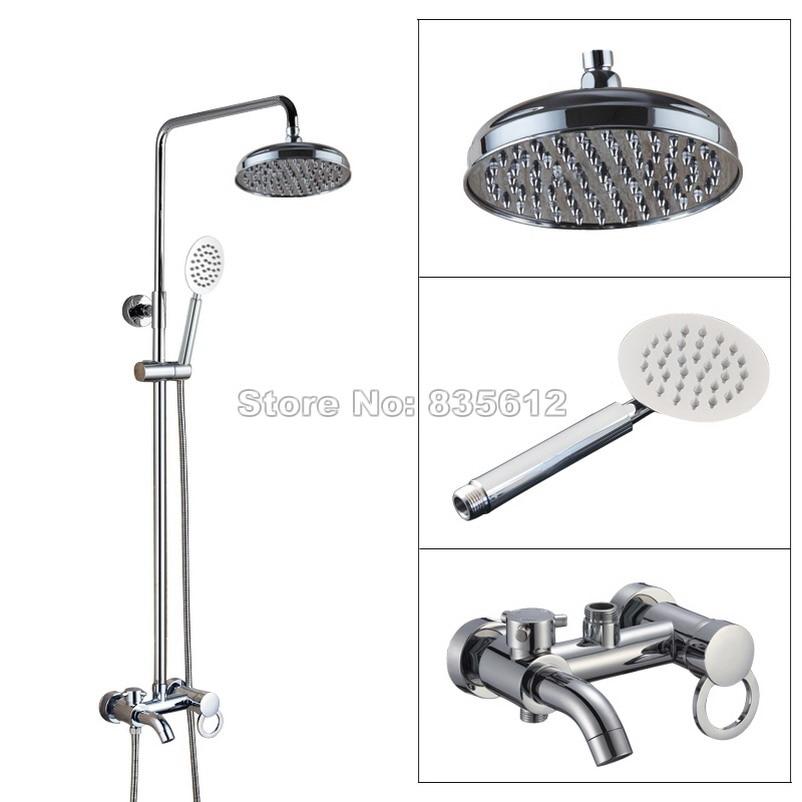 Polished Chrome Rainfall Shower Heads Bathroom Single Handle Rain Shower Faucet Set with Tub Mixer Tap + Hand Spray Wcy338