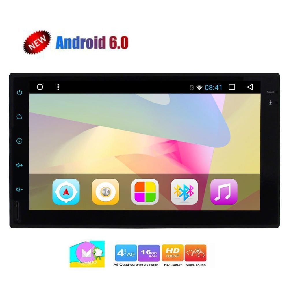 Android6.0 voiture stéréo mains libres Bluetooth GPS Navigation Wifi USB SD 7''Double Din + RGB coloré clé lumière 2din Auto Radio vidéo