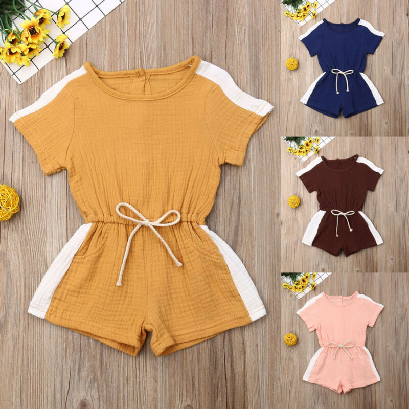Summer Toddler Kids Baby Girl Sport Romper Solid Color Jumpsuit Playsuit Short Pants Clothes