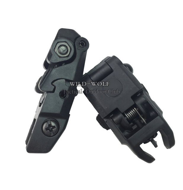 High Quality 2 pcs Gen2 Tactical Folding Front/Rear Flip Backup Sights Scope Mount Accessories Black set