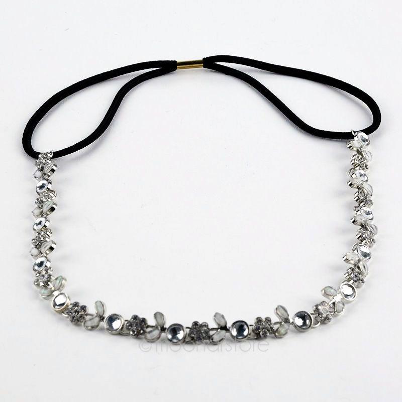 Lady Elastic Rhinestone Diamond Headbands Wedding Bridal Flower Headband Hairbands   Headwear   Head Band Head Chain Y70*MPJ063#M5