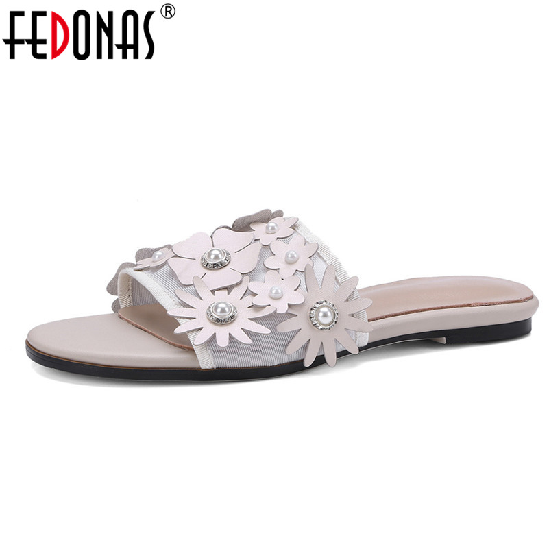 FEDONAS 2018 New Women Sandals Fashion Gladiator Flats Heels Summer Shoes Woman Female Cute Flowers Party Shoes Sandals Women