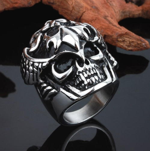 Hardcore Rocker Skeleton Skull Ring Men Ring front