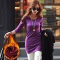 Invierno de las mujeres Básicas Blusas 2016 Primavera Otoño Gruesa Camiseta de La Manera delgado Warm Tees Solid Manga Larga Camisetas Tops Tallas grandes A522