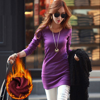 Women Winter Basic Blusas 2016 Spring Autumn Thick T Shirt Fashion Slim Warm Tees Solid Long